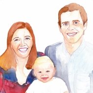 Painting of family by Aine Macken